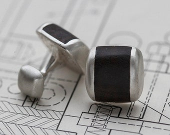 Sterling silver and Myrtle wood cufflinks