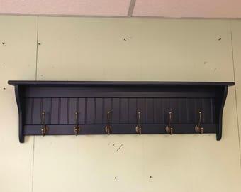 Coat Rack Wood Wall Shelf Hanging