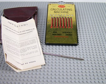 Vintage WIZARD Calculating Machine, West Germany, 1958, Pocket Calculator with instructions