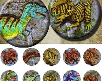Dinosaur - Bottle Cap Images 4x6 Digital Collage INSTANT DOWNLOAD