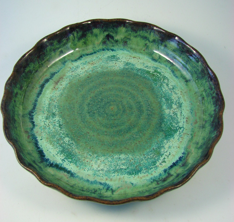 $46.00 & Custom Made Pie Plate - Ceramic Quiche Pan - Stoneware Pie Baking ...