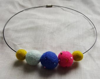 Handmade Felted Bead Necklace - Gumball tones