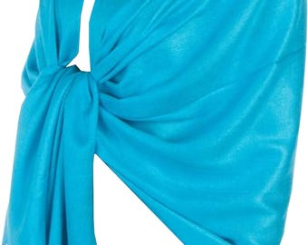 Ladies Luxury Silky Feel Pashmina Scarf/Shawl/Wrap For Day To Evening Occasions (Turquoise)
