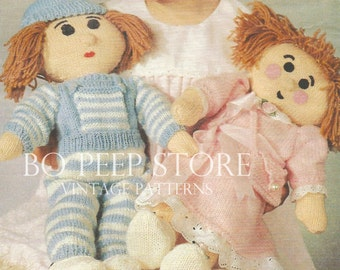 Boy and Girl Rag Doll to knit Toy knitting pattern [DOWNLOAD]