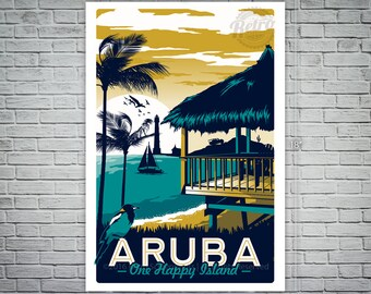 Aruba Retro Vintage Travel Poster