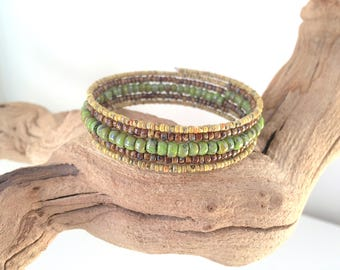 Native American Inspired, Boho Style, Memory Wire, Wrap Bracelet, Picasso Seed Beads