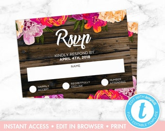 Rustic Floral Wood Wedding Invitation RSVP Card