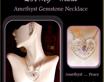 Mother gift - mothers day - daughter gift,wife gift,girlfriend gift,Heart jewelry,Amethyst jewelry,february Birthstone jewelry, Birthstone,