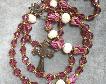 French Rose Crystal Rosary lampwork Glass Rose Buds Bronze  Cable HeartFelt Rosaries HeartFeltRosaries.com j