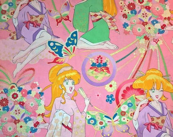 Two (2) Yards -Miss Butterfly Anime-styled print by Alexander Henry Fabircs M6564B Pink