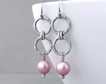 Pink Pearl Earrings Silver Drop Earrings Modern Pearl Jewelry Gift for Women - Akira