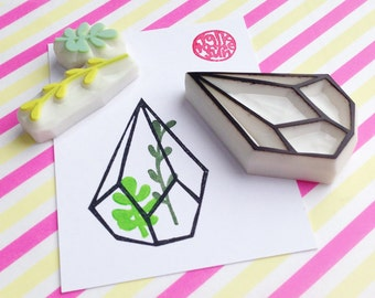 geometric terrarium rubber stamp | succulent stamp | glass planter stamp | diy birthday card making | hand carved by talktothesun | set of 3