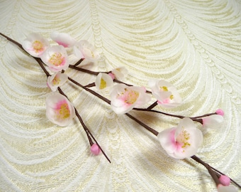 Vintage Millinery Cherry Blossom Twig White Pink Flowers NOS for Hats Weddings, Floral Arrangements