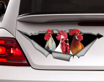 Funny Roosters decal , car  decal,  Vinyl decal, bird sticker, funny  decal, rooster sticker, farm decal