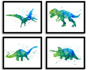 Watercolor Dinosaur Prints Wall Art Set Of 4 Children Nursery Poster Home