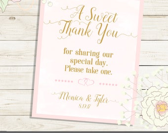 LOVE is SWEET personalized sign for wedding or shower. Printed or PDF Sign in size, color  of choice. Monika Collection  Mint Pink Gold.