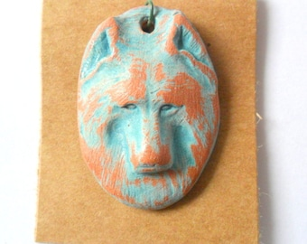Wolf Distressed Turquoise over Terra Cotta Charm or Pendant Finding