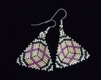 Plaid to Me Peyote Triangle Earrings, Delica Seed Bead Earrings, Beaded Earrings, Seed Bead Earrings