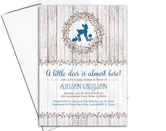 Woodland animals baby shower invitations | Boys baby shower invitation printable or printed | rustic wood invites - WLP00755