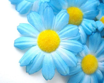 12 Blue Gerbera Daisy Heads - Artificial Silk Flower - 1.75 inches - Wholesale Lot - for Bridal Wedding work, Make Hair clips, hats , card