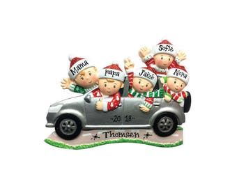 5 Family Members in Car  Personalized Christmas Ornament / Road Trip Ornament / Family SUV / Hand Personalized with Names and Message