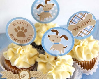 Blue Puppy Cupcake Toppers printable Stickers for Happy Birthday Party Paw pawty plaid woof instant download pdf digital