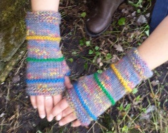 Grey with Contrasting Colors Hand Knit Fingerless Gloves - Knit Gloves - Hand Warmers - Arm Warmers - Winter Gloves - Women's Accessories