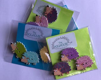 Hedgehog magnets. Funky colourful magnets. Cute animal magnets, small fridge magnets. Stocking filler. Gift for animal lover. Set of three.