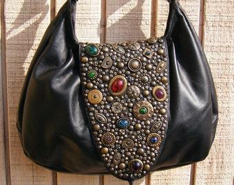 Boho purse with Italian brass hardware and cabachon stones