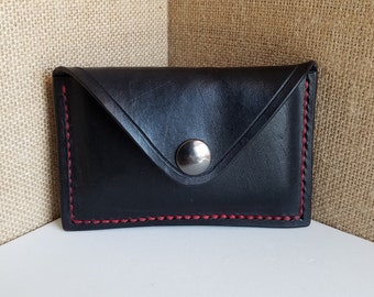 Handmade Black & Red Leather Card Holder - Business Card Holder - Small Wallet