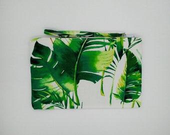 Tropical Banana leaf, palm leaf print clutch, purse
