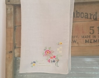 Muli-Colored Hand Embroidered Vintage Floral Handkerchief