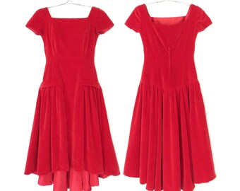 red velvet dress * vintage 80s party dress * red evening dress * small