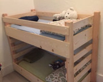 Toddler Bunk Bed Do It Yourself (DIY) Plans (Extended Size - fits an IKEA 63 inch Mattress)