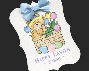 Easter Tags - Personalized Tags - Favor Tags - Cookie Tags - Bag Tags - Easter Candy Tags - Easter Labels - Bear in Basket With Tulips - 20