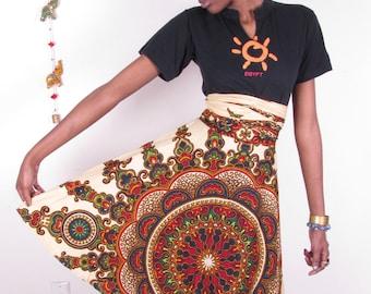 70s inspired 100% cotton  vintage dashiki African hippie ethnic tribal boho versatile convertible wrap top dress skirt
