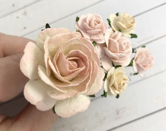 Flower Hair Pins in Shades of Blush Pink with Ivory for Weddings, Prom, Bridesmaids // Bobby Pin Gift Set // Romantic Bridal Style