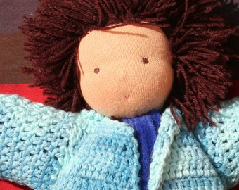 Cuddly Waldorf Doll - 9in or 11 1/2 in - soft cotton velour - sewn wool hair - handmade