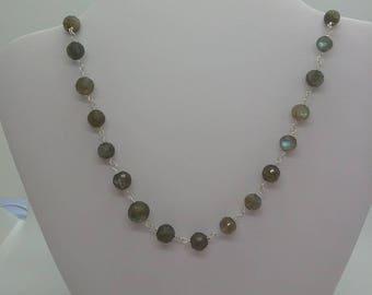 Labradorite rosary linked necklace