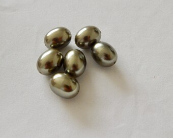 16mm Oval Glass Pearl Beads