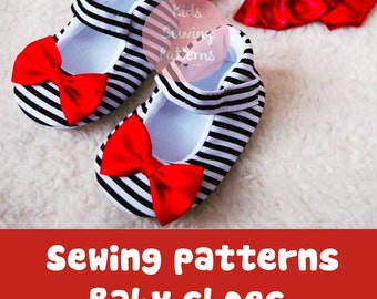 Bow shoes PATTERN 45, accesory baby shoe, first party shoes pattern, accesories for girls, pdf instant download, birthday dress shoe pattern