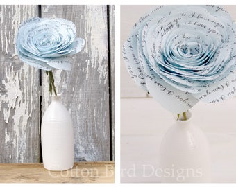 2 year anniversary Long Stem Blue Rose I love  you Flowers by Cotton Bird Designs