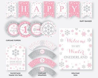 Instant Download, Winter Wonderland Party Package, Winter Onederland Birthday Package, First Birthday Party Package, Pink and Silver(GKB.02)