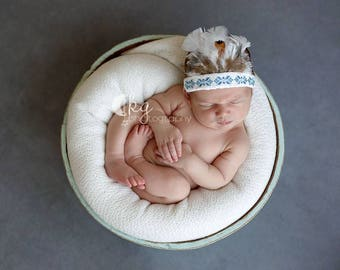 Blue indian headress, infant, baby, native american prop, embroider, headband, native, feathers, headdress, native american, baby photo prop