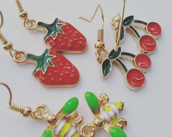Secret Garden earrings, enamel earrings, choose style, Bee, strawberry, cherry, earrings, by Newellsjewels on etsy