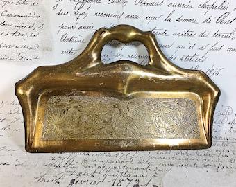 Vintage Brass Victorian Crumb Catcher Pan with a Bird Design Silent Butler