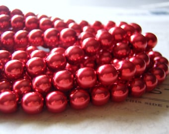 Red Pearl Beads 8mm Round Druk Smooth Czech Glass 30 Beads