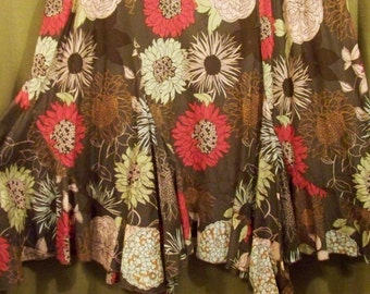 Assymetrical 100% Cotton Skirt In Florals Of Poppy And Tan On A Chocolate Background - Size 18W - Red Dirt Girl - 272