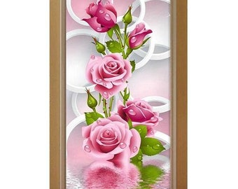 5D Diy Diamond Painting, Pink Rose Round Diamant Embroidery