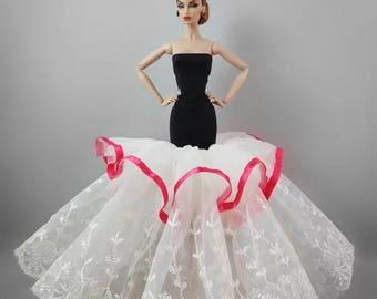 3#-Black&White Women Girl's Birthday Christmas Gift Handmade Lace Barbie Doll Wedding Dress Mermaid Fishtail Party Gown Prom Evening Dress